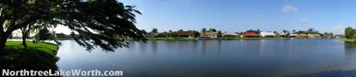 Many of Northtree's homes enjoy a tranquil view overlooking the entensive lake.